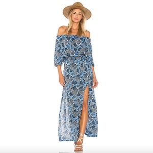 Tiare Hawaii off the shoulder blue floral dress
